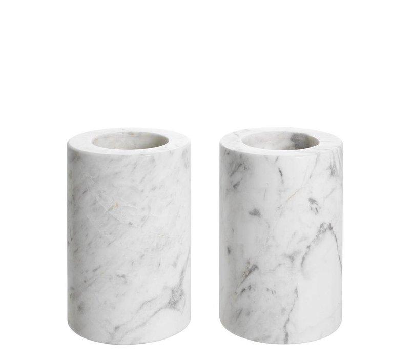 Tealight Holder Tobor S, white marble 2-er Set