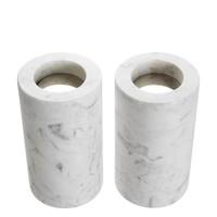 Tealight Holder Tobor M, white marble (Set of 2)