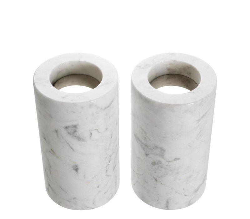Tealight Holder Tobor M, white marble (2-er Set)