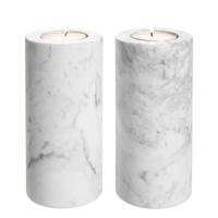 Tealight Holder Tobor L, white marble (2-er Set)