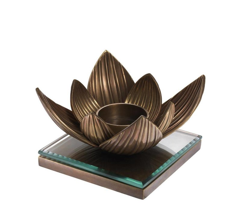 Candle Holder Lotus, vintage koper