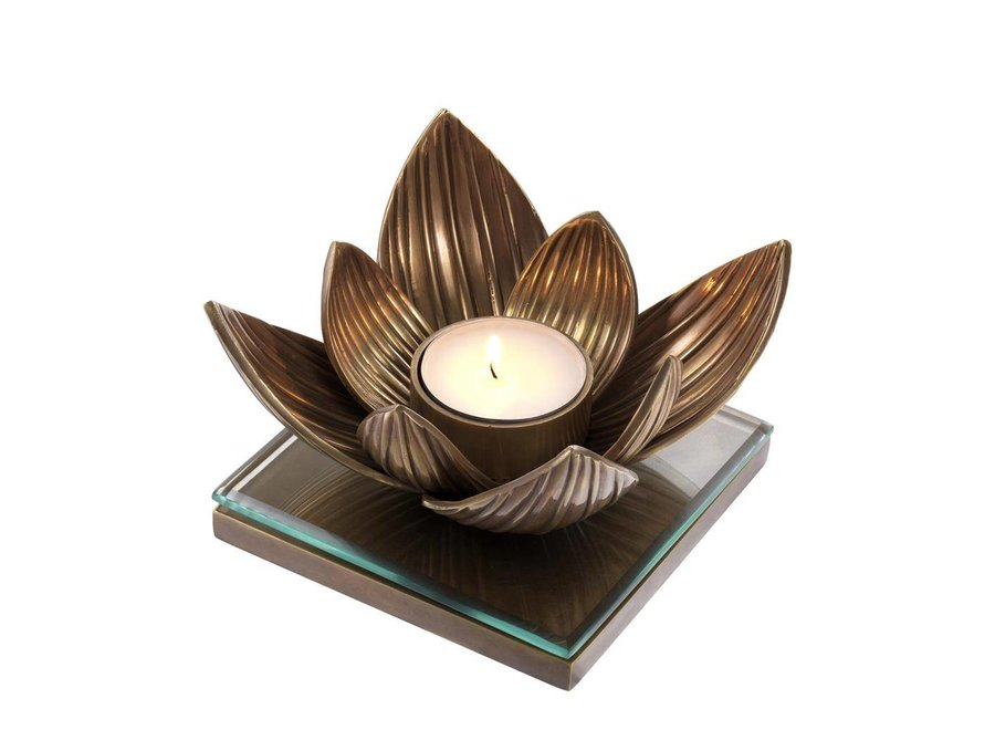 Candle Holder Lotus,  vintage copper