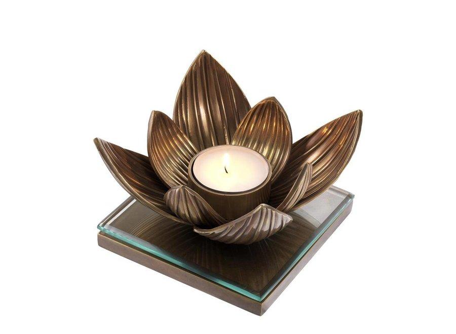 Candle Holder Lotus, vintage koper