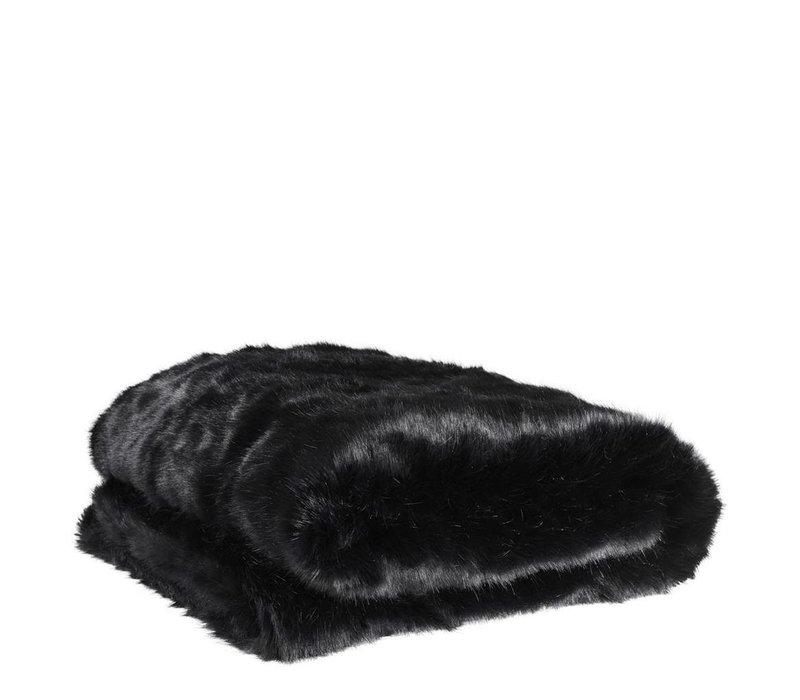Bontplaid Alaska Black, met een 'zachte touch' (imitatiebont)