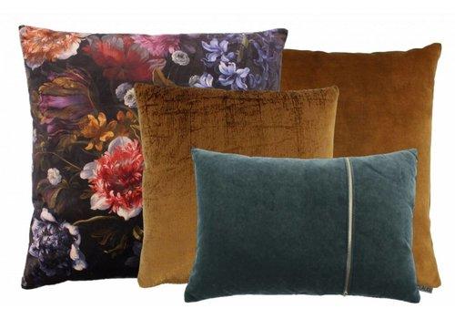 CLAUDI Chique Cushion combination Cognac/Dark Mint: Bibi Flower, Izett, Adona & Rosana