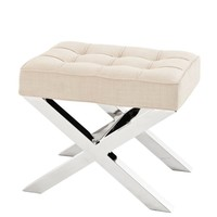 Small footstool natural linen Beekman Place by Eichholtz