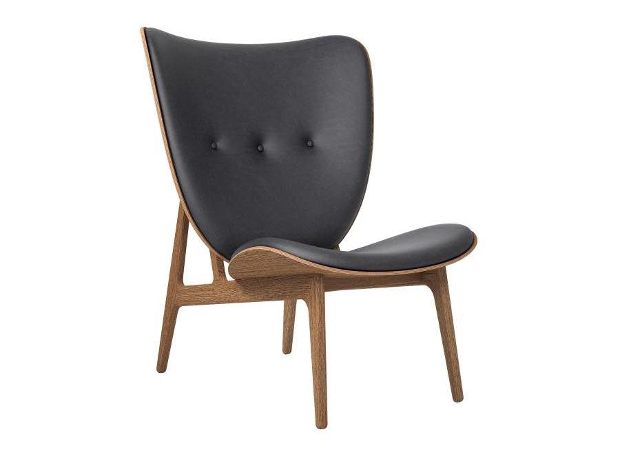 Elephant lounge chair - leather / smoked oak frame