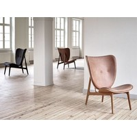 Elephant lounge chair - leather / frame dark stained