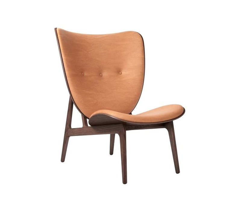 Elephant lounge chair met leren bekleding / frame dark stained