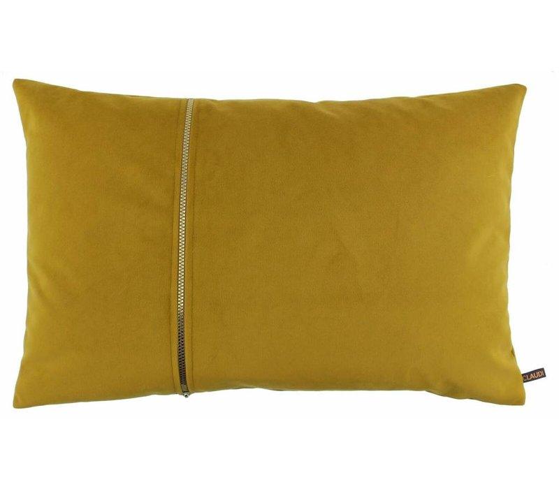 Dekokissen Rosana in der Farbe Oker mit goldfarbenem Reißverschluss