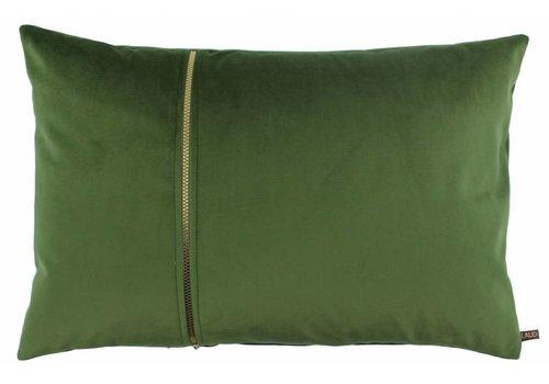 CLAUDI Cushion Rosana Olive + gold zipper