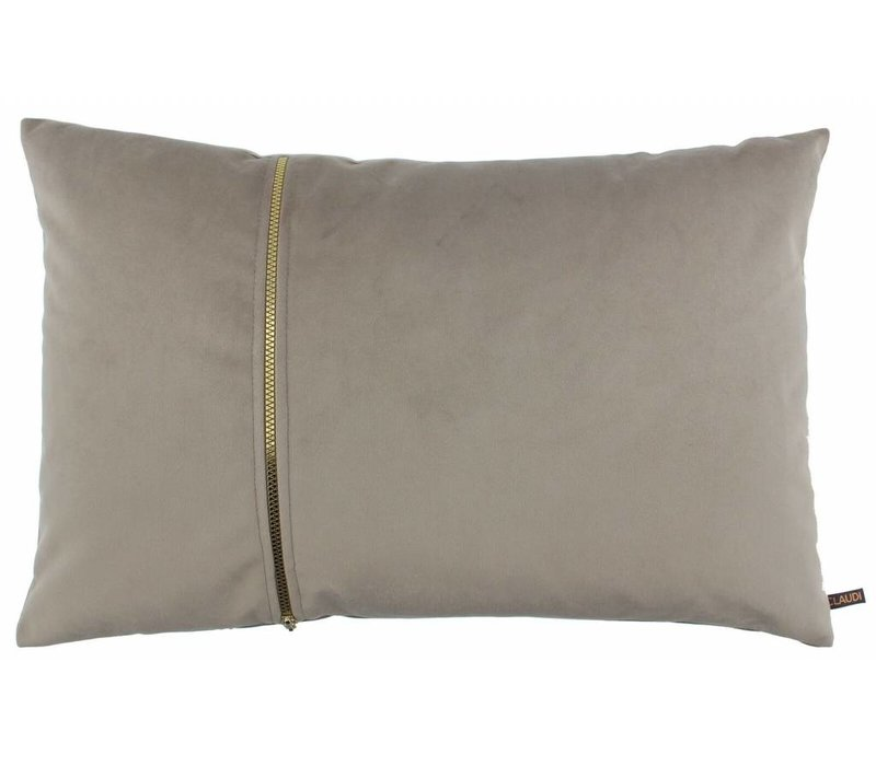 Cushion Rosana in color Sand with gold zipper