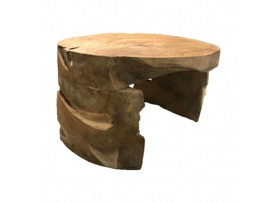 Coffee table Root, massief teakhout-  uit één stuk