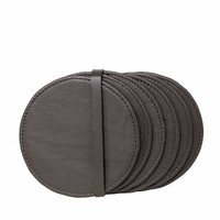 Leather coasters 'Pewter' - Set of 6