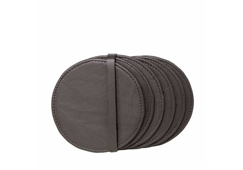 Dome Deco Leather coasters 'Pewter' - Set of 6