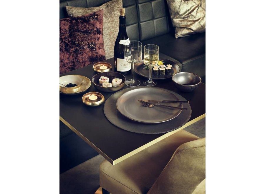 Diner bord 'Julius' - set van 2 - in de kleur Pewter