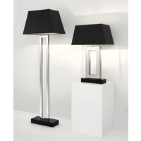 Table lamp 'Arlington' stainless steel with a shade in black