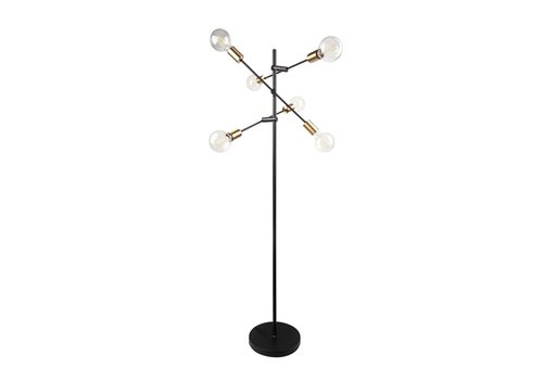 Dome Deco Vloerlamp Metal Black & Gold + Led