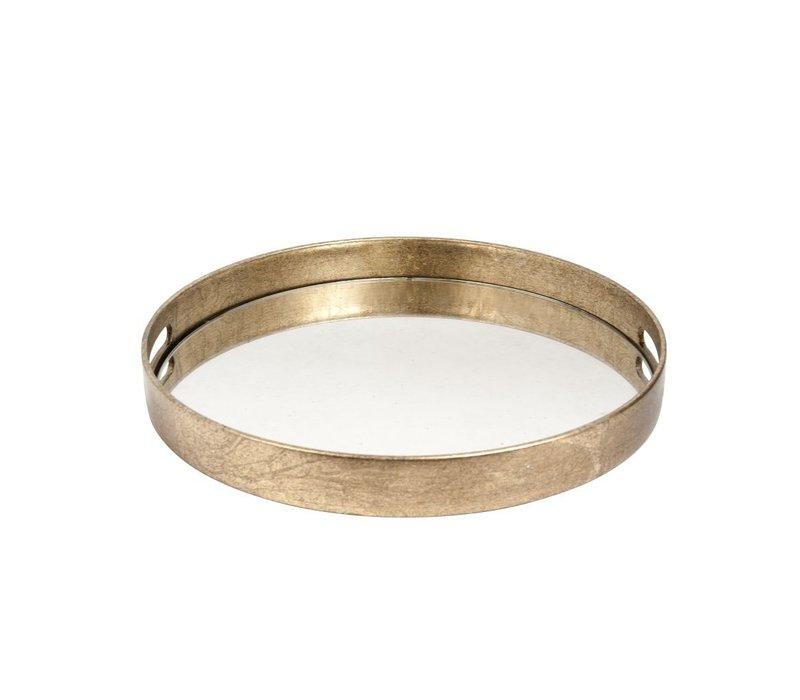 Goud dienblad rond met spiegelblad- S 37,5cm