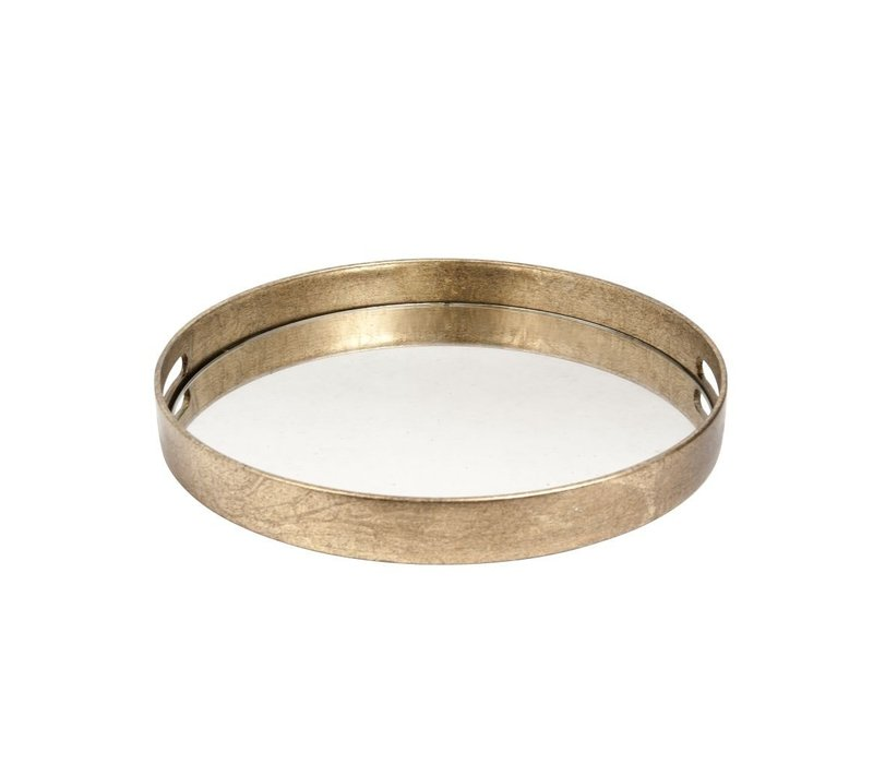 Goud dienblad rond met verouderd spiegelblad- S 37,5cm