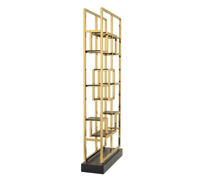 Cabinet 'Lagonda' ist 240cm hoch und gemacht aus Hochglanz Stahl mit Gold finish