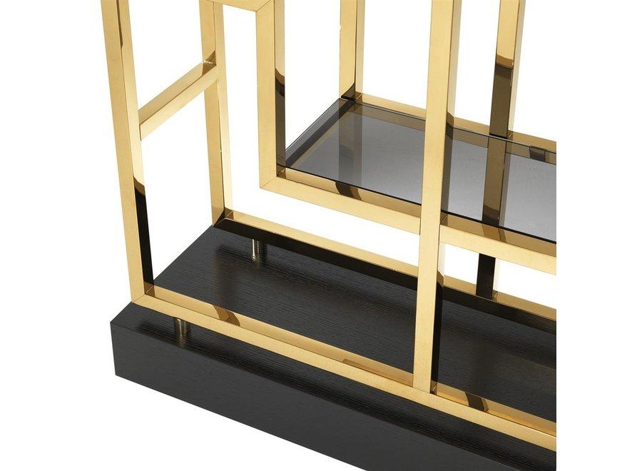 Cabinet 'Lagonda' is 240cm hoog en uitgevoerd in een 'Gold finish'