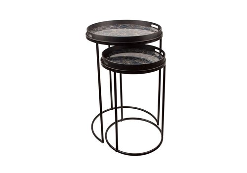 Dome Deco Round Side tables 'Black & Green' set of 2