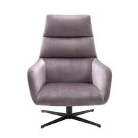 Swivel Chair & Ottoman Nautilus, gunmetal finish swivel and taupe velvet fabric
