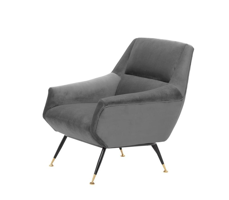 Chair Exile, grey velvet with brass legs