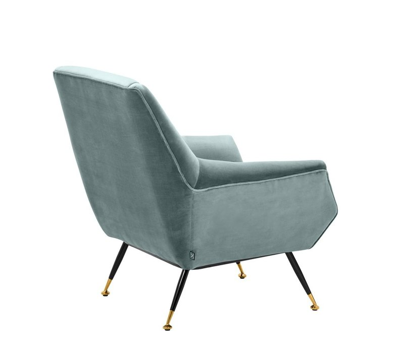 Chair Exile, Cameron deep turquoise with brass legs