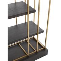 Cabinet 'Ward' in brass finish and oak veneer H. 222 cm