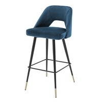Bar Stool Avorio, Roche blue velvet