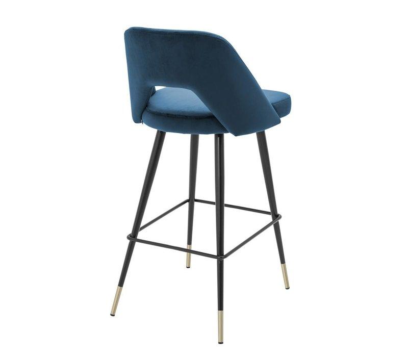 Counter Stool Avorio, blue velvet