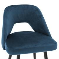 Counter Stoel Avorio, blauw fluweel