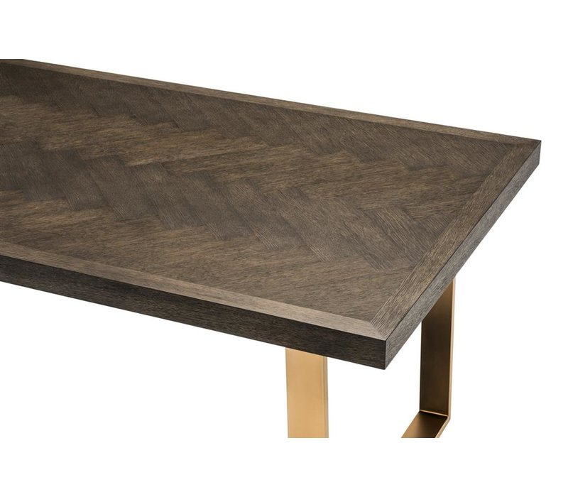 Dining Table Melchior, brushed brass finish