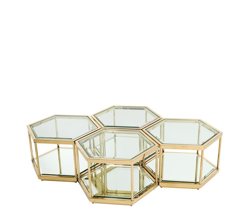 Set of 4 Sax coffee tables, gold