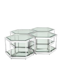 'Sax' coffee table set of 4, polished stainless steel