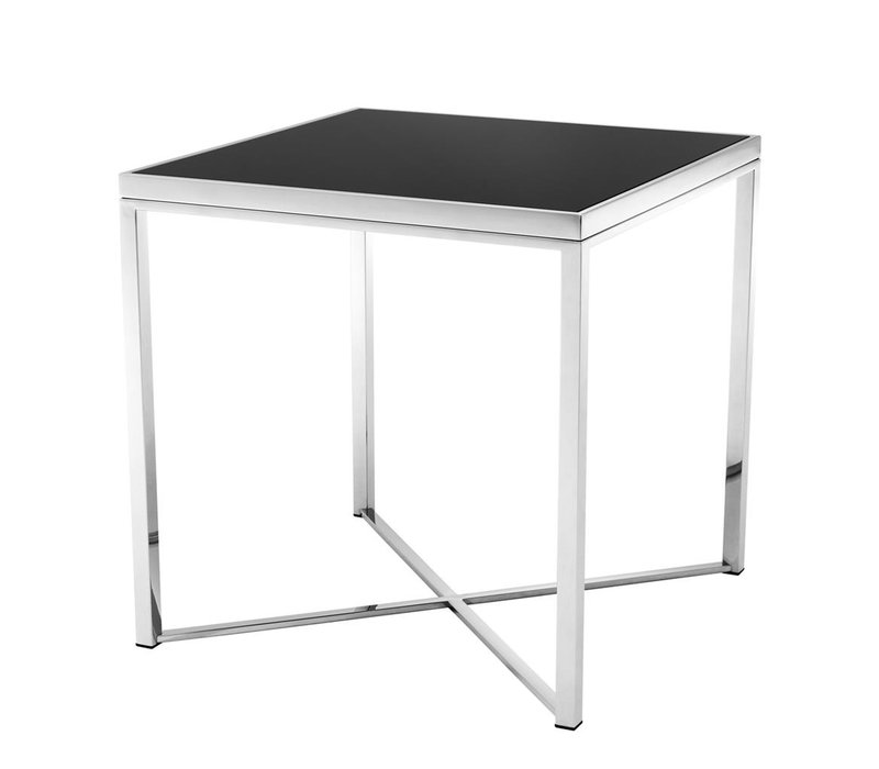 Side table Labyrinto, black glass