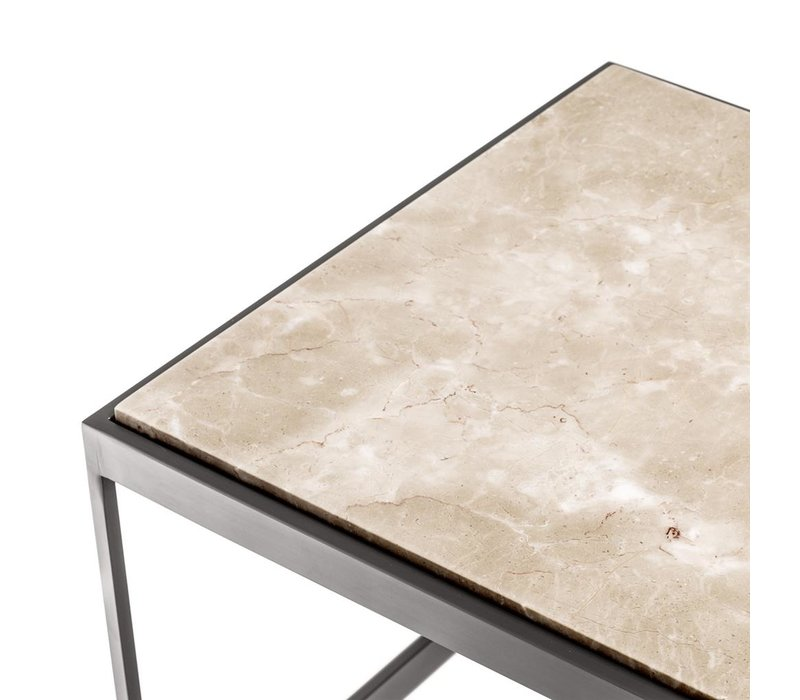Coffee table 'La Quinta' 'Beige marble and bronze finish