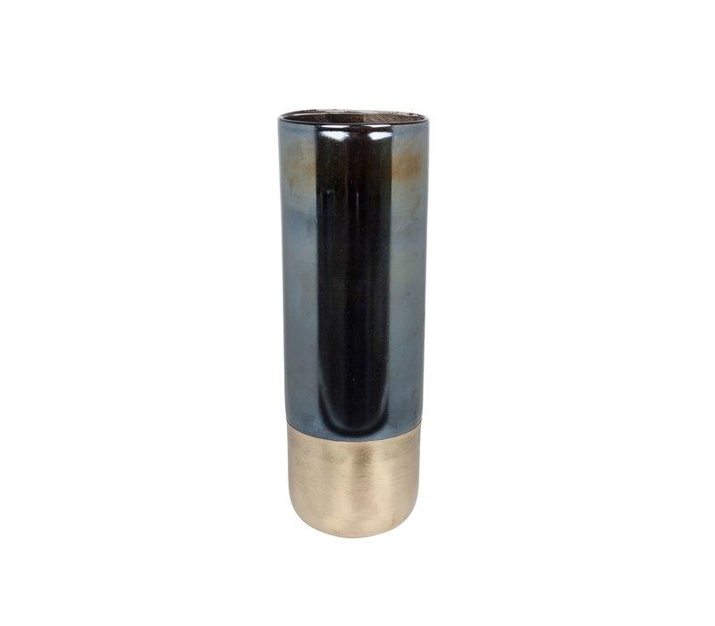 Hoge glazen vaas 'Black Glass & Gold Bottom' H43 x D15 cm