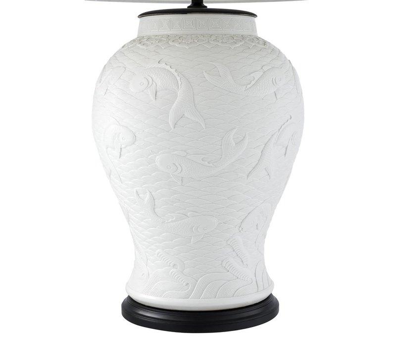 Tafellamp ''Dupoint'' met off white kap, 96cm hoog