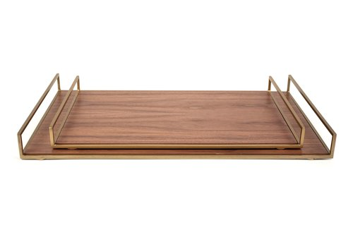 Dome Deco Tray 'Walnut' set of 2