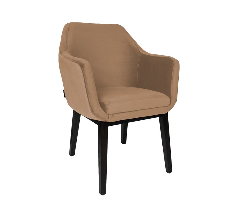 Dining chair - Volvere Gold/Brown - with arms