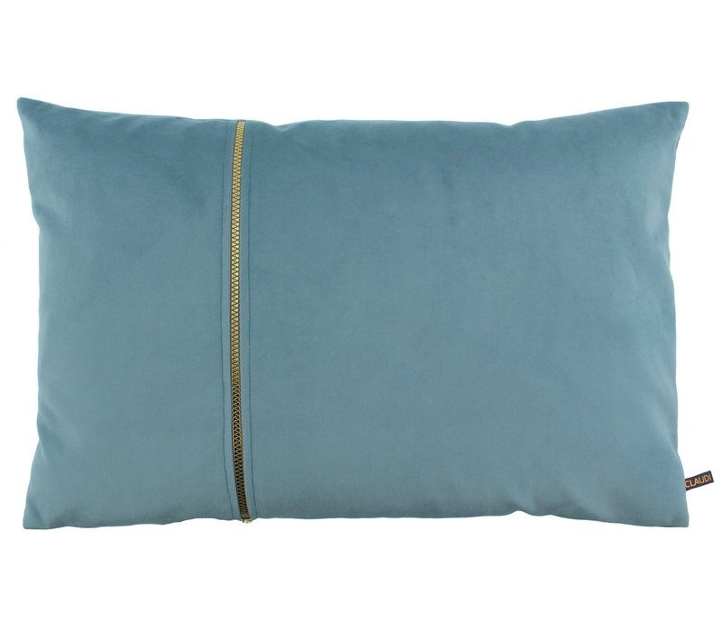 Cushion Rosana in color Iced Blue with gold zipper