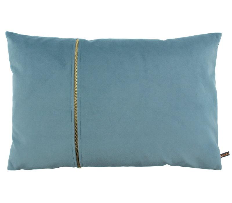 Dekokissen Rosana in der Farbe  Iced Blue mit goldfarbenem Reißverschluss