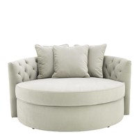 Round Lounge Sofa 'Carlita'  Pebble Grey