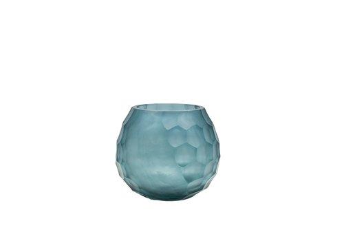 Dome Deco Glazen theelicht 'Blue'  set van 2