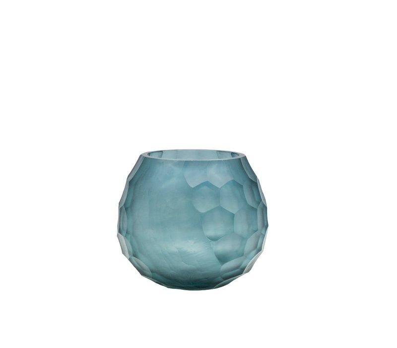 Theelicht 'Blue' van facet geslepen glas - set van 2 stuks