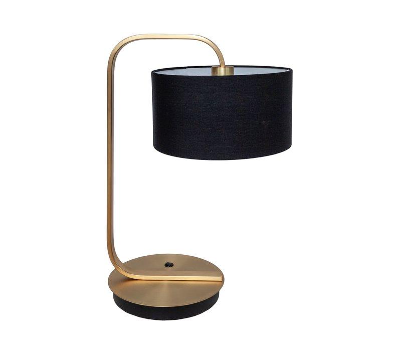 Die Tischlampe ''Gold with Black Shade'' hat ein elegantes Design