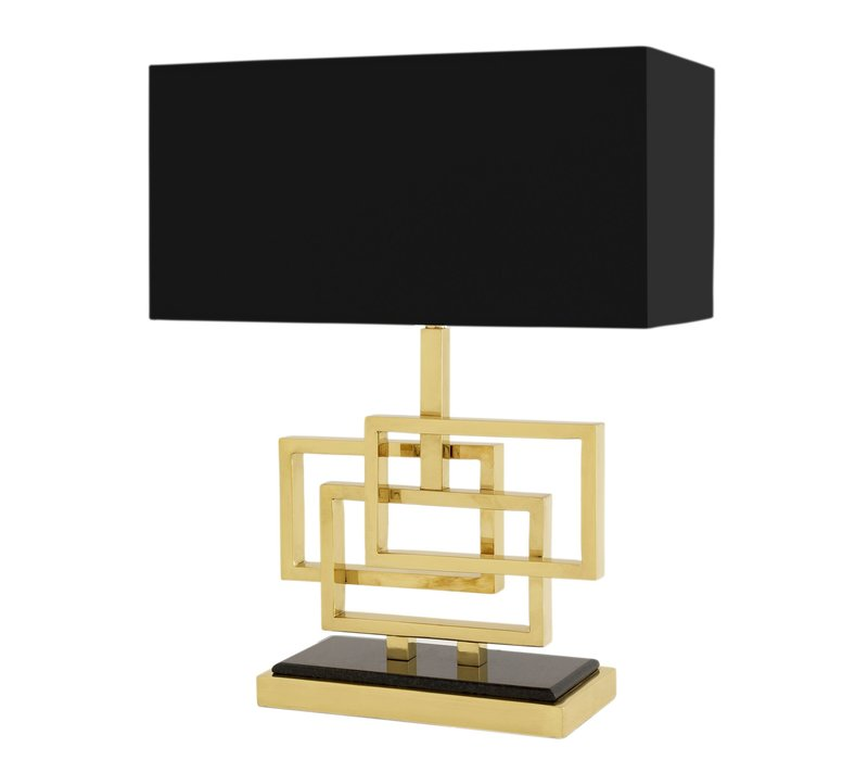 Table lamp 'Windolf' stainless steel with a shade in black - Gold